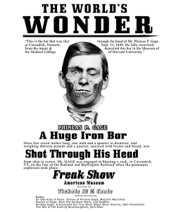 P.T. Barnum style poster of Phineas Gage after his TBI