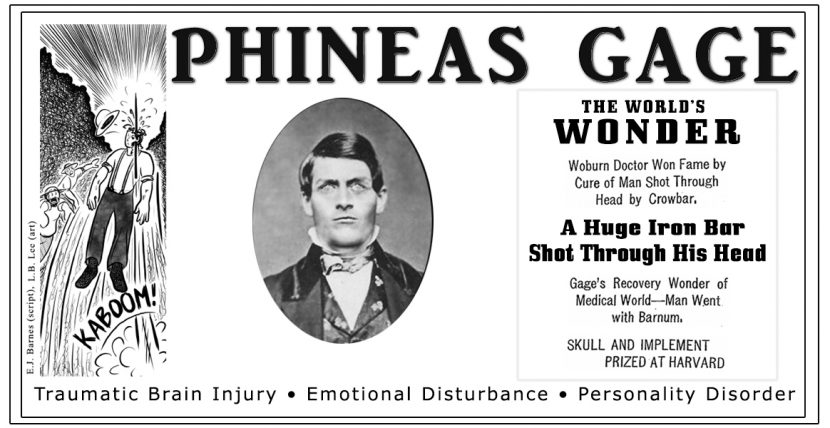 Phineas Gage symbolic of traumatic brain injury, personality disorder, and emotional disturbance.