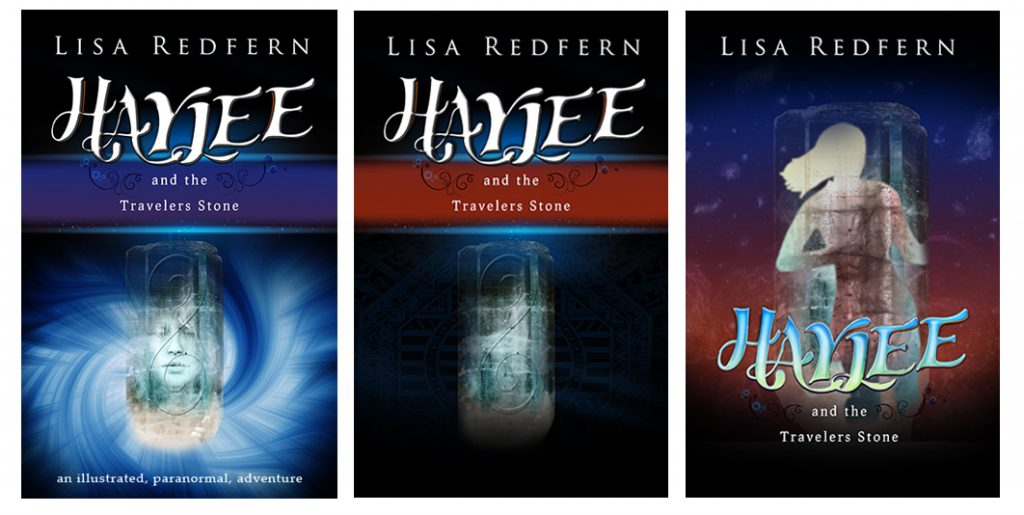 Evolution of Haylee and the Traveler's Stone book covers.