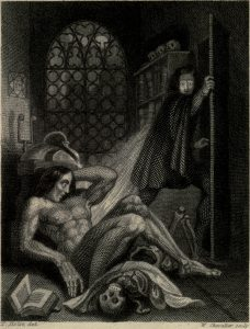 istoric depiction of body parts and monster assembly in Frankenstien